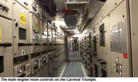 The main engine room controls on the Carnival Triumph.