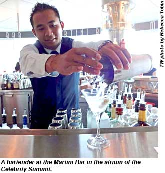A bartender at the Martini Bar.