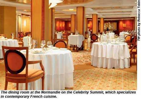 The dining room at the Normandie on the Celebrity Summit, which specializes in contemporary French cuisine.
