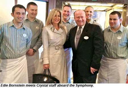 Edie Bornstein meets Crystal staff aboard the Symphony.