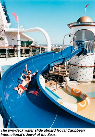 The two-deck water slide aboard Royal Caribbeans Jewel of the Seas.