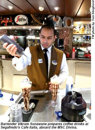 Bartender Vikram Sonawane prepares coffee drinks at Segafredos Cafe Italia, aboard the MSC Divina.