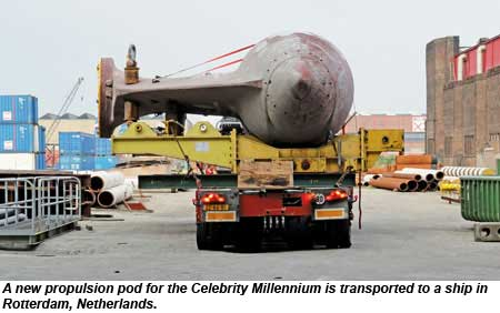 A new propulsion pod for the Celebrity Millennium is transported to a ship in Rotterdam, Netherlands.
