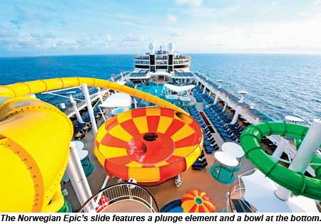 The Norwegian Epic slide features a plunge element and a bowl at the bottom.