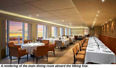rendering of main restaurant on Viking Star