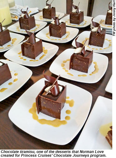 Chocolate tiramisu, one of the desserts that Norman Love created for Princess Cruises' Chocolate Journeys program.