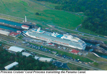 The Coral Princess in the Panama Canal.