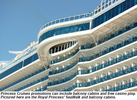 Royal Princess' SeaWalk and balcony cabins.