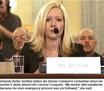 Amanda Butler, cruise hearing
