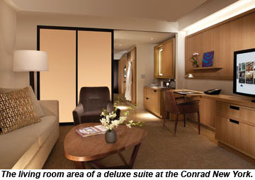 Conrad New York, suite living room