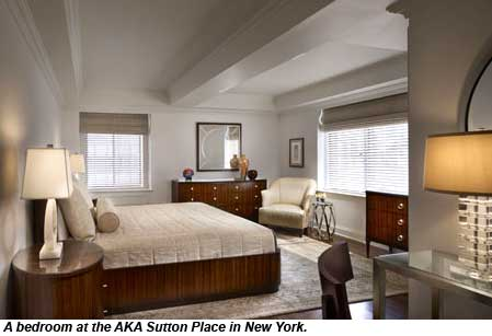 A bedroom at the AKA Sutton Place in New York.
