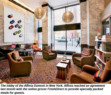 The lobby of the Affinia Dumont in New York.