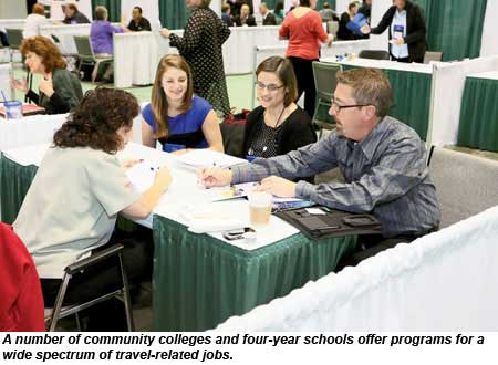 A number of community colleges and four-year schools offer programs for a wide spectrum fo travel-related jobs.