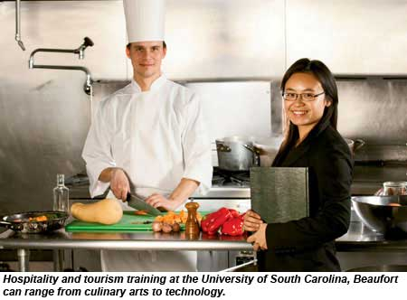Hospitality and tourism training at the University of South Carolina, Beaufort can range from culinary arts to technology.