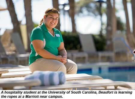 A hospitality student at the University of South Carolina, Beaufort is learning the ropes at a Marriott near campus.