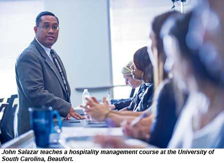 John Salazar teaches a hospitality management course at the University of South Carolina, Beaufort.