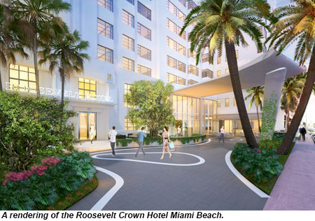 A rendering of the Roosevelt Crown Hotel Miami Beach.
