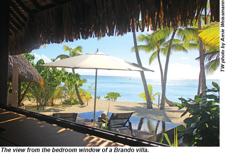 The view from the bedroom window of a Brando villa.