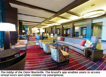 The lobby of the Omni Nashville.
