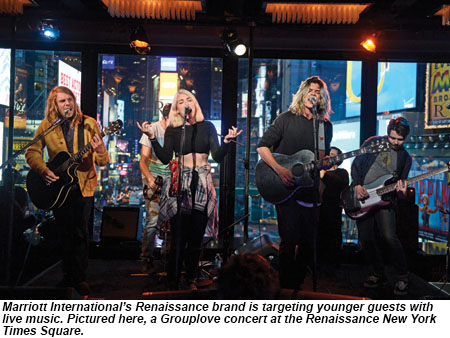 A Grouplove concert at the Renaissance NY Times Square.