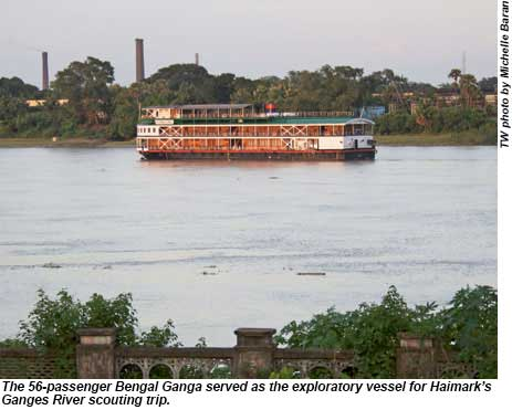 The Bengal Ganga served as the vessel for Haimarks Ganges River scouting trip.