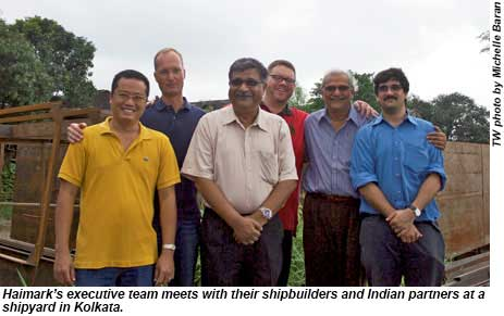 Haimark executives and their shipbuilders meet at a shipyard in Kolkata.