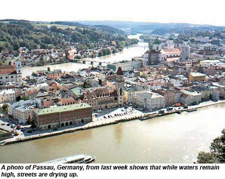 A photo of Passau, Germany, from last week shows that while waters remain high, streets are drying up.