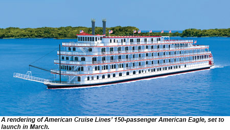 A rendering of American Cruise Lines' 150-passenger American Eagle, set to launch in March.