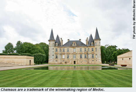 Chateaus are a trademark of the winemaking region of Medoc.