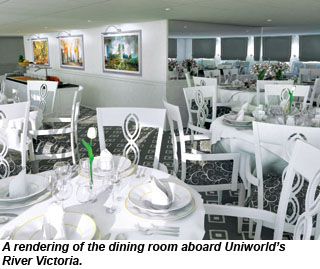 Rendering of the dining room aboard the river victoria
