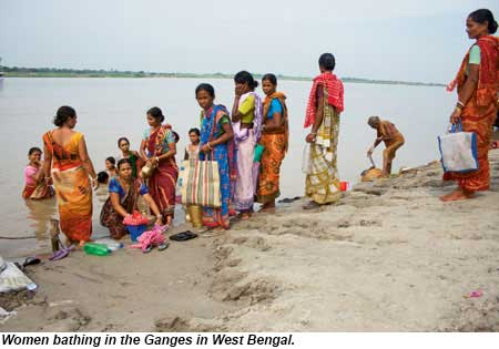Women bathing in the Ganges in West Bengal.