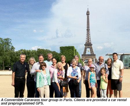 A Convertible Caravans tour group in Paris.