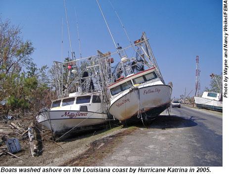 Boats washed ashore on the Louisiana coast after Hurricane Katrina in 2005.