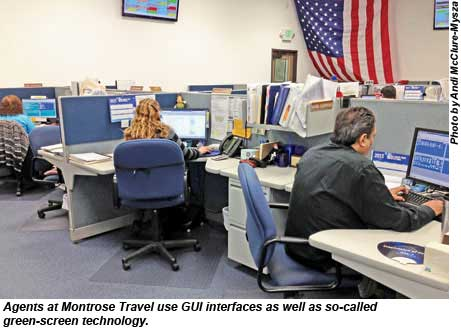 Montrose Travel agents use GUI interfaces and green-screen technology
