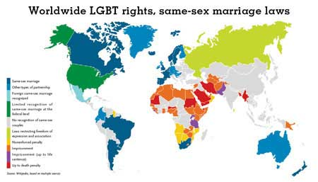 Worldwide LGBT Rights, Same-Sex Marriage Laws