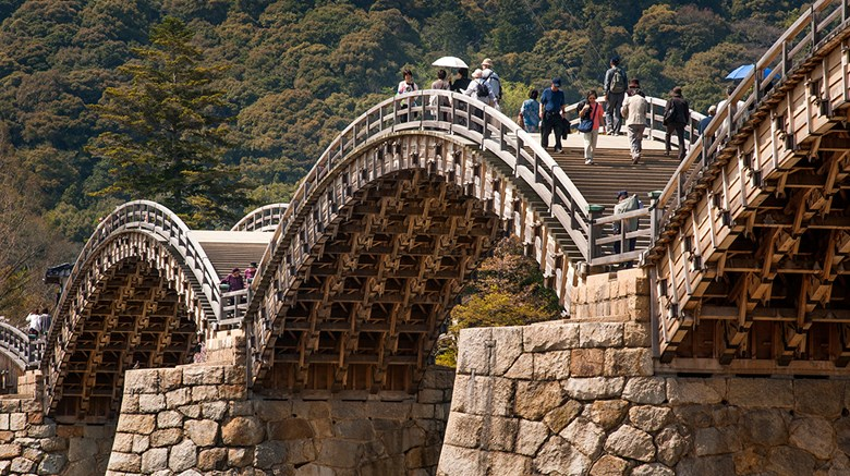 The natural beauty of Japan as seen through the lens of an award-winning photographer and writer, as he explored the Nakasendo Way and other walking tours. Pictured here, historic Kintaikyo Bridge in Iwakuni, a great area for hiking.