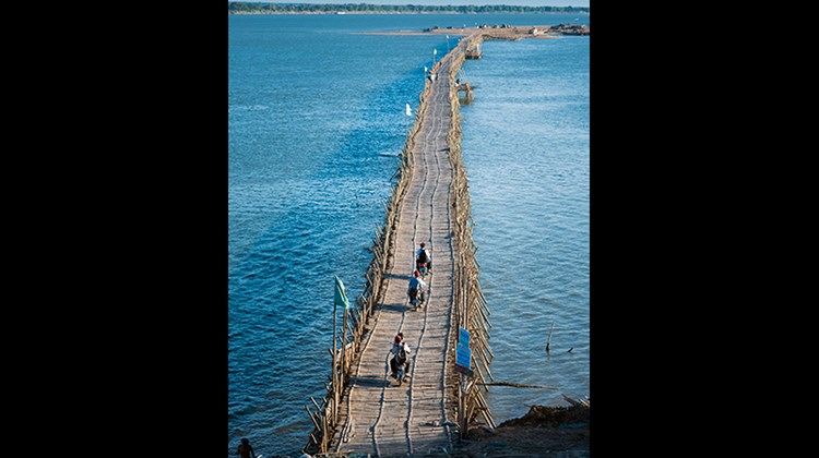 Kampong Cham is home to one of the world's longest bamboo bridges.
