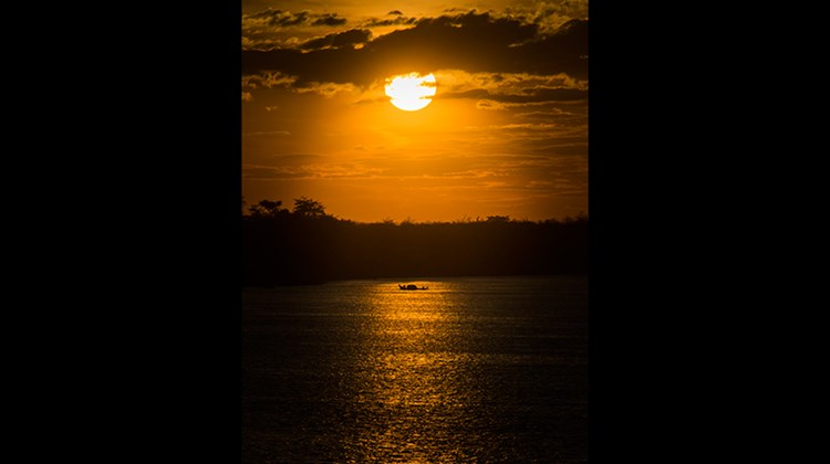 Sunset on the Mekong River in Cambodia.