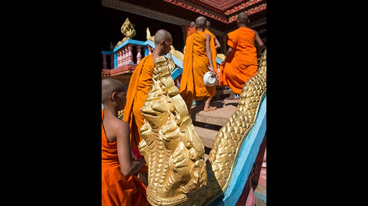 Monks head to lunch at Wat Hanchey.