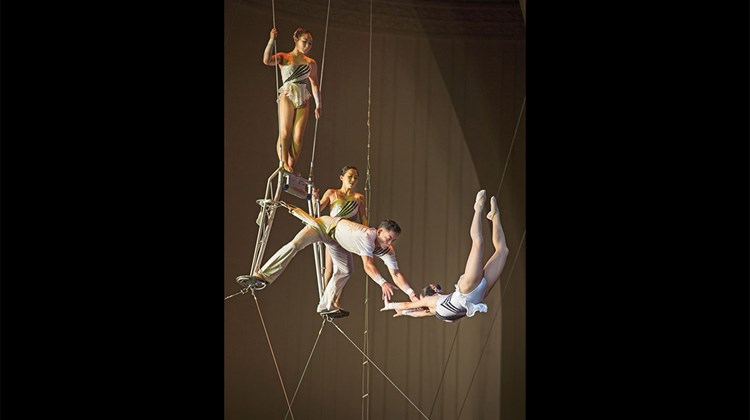 The North Korean State Circus performs in the Pyongyang Circus Building.