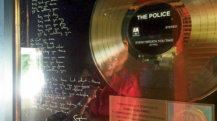 A gold record and lyrics to the Police hit ''Every Breath You Take'' was given to Chris Blackwell by Sting and are on the wall in the Fleming Villa; Sting says he wrote the song at GoldenEye.