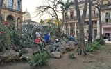 A small park provides the venue for Havana residents to gather at dusk.