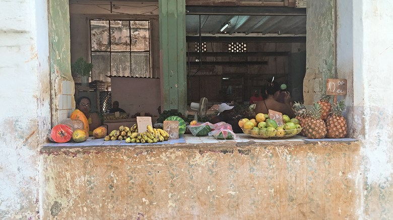 Travel Weekly Editor in Chief Arnie Weissmann had the opportunity to visit the country in March and found that, despite what some may fear, there isn't any reason for great concern that ''authentic'' Cuba will be overwhelmed by American influence anytime soon. Pictured here, fresh produce on the window sill of a building in Old Havana indicates there's a market is within.