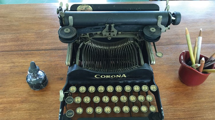 Ernest Hemingway's typewriter, on which he wrote ''Old Man and the Sea,'' is on display at Finca Vigia, his Cuban retreat home outside of Havana.
