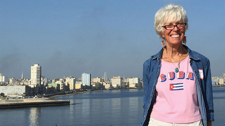 Travel Weekly's Gay Nagle Myers with the Havana skyline in the background.
