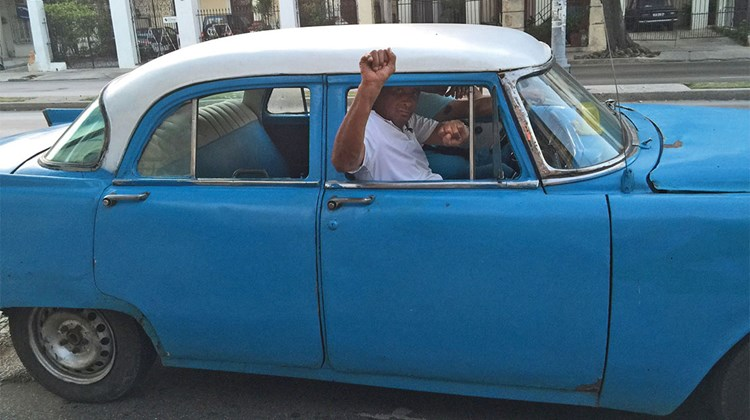 A car from the 1950s, which is typically seen in Havana.