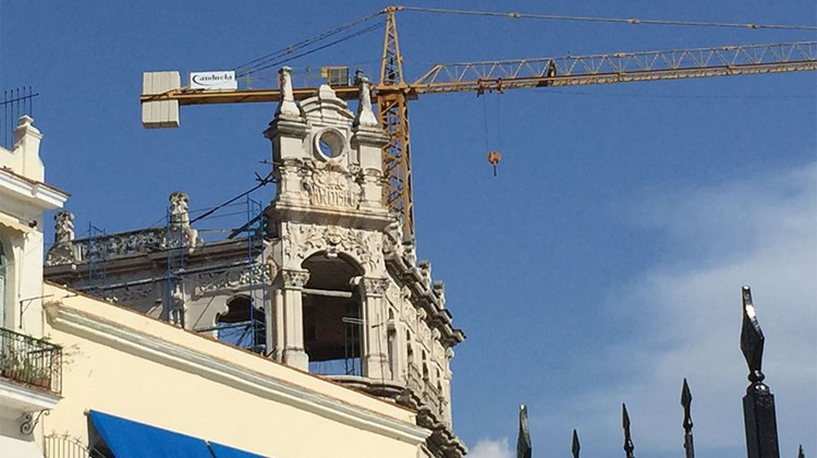 Cranes are a familiar sight in Havana these days as old ornate buildings undergo restorations.