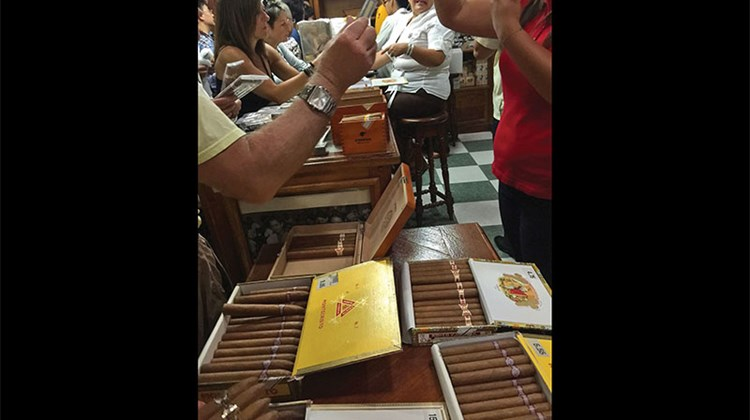 The cigar shop at the Corona cigar factory in Havana.
