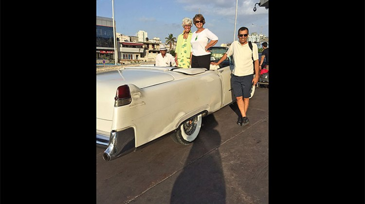 Travel Weekly's Gay Nagle Myers; Rosemarie Leone, an agent with Destinations Unlimited by RGL in Haddon Heights, N.J.; and Tim Welch, an agent with Blue Ash Travel in Cincinnati, on a '59 Chevy in Havana.
