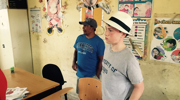 A Corbisky Island classroom. Principal Elias is on left, Weissmann's 12-year-old son on the right.